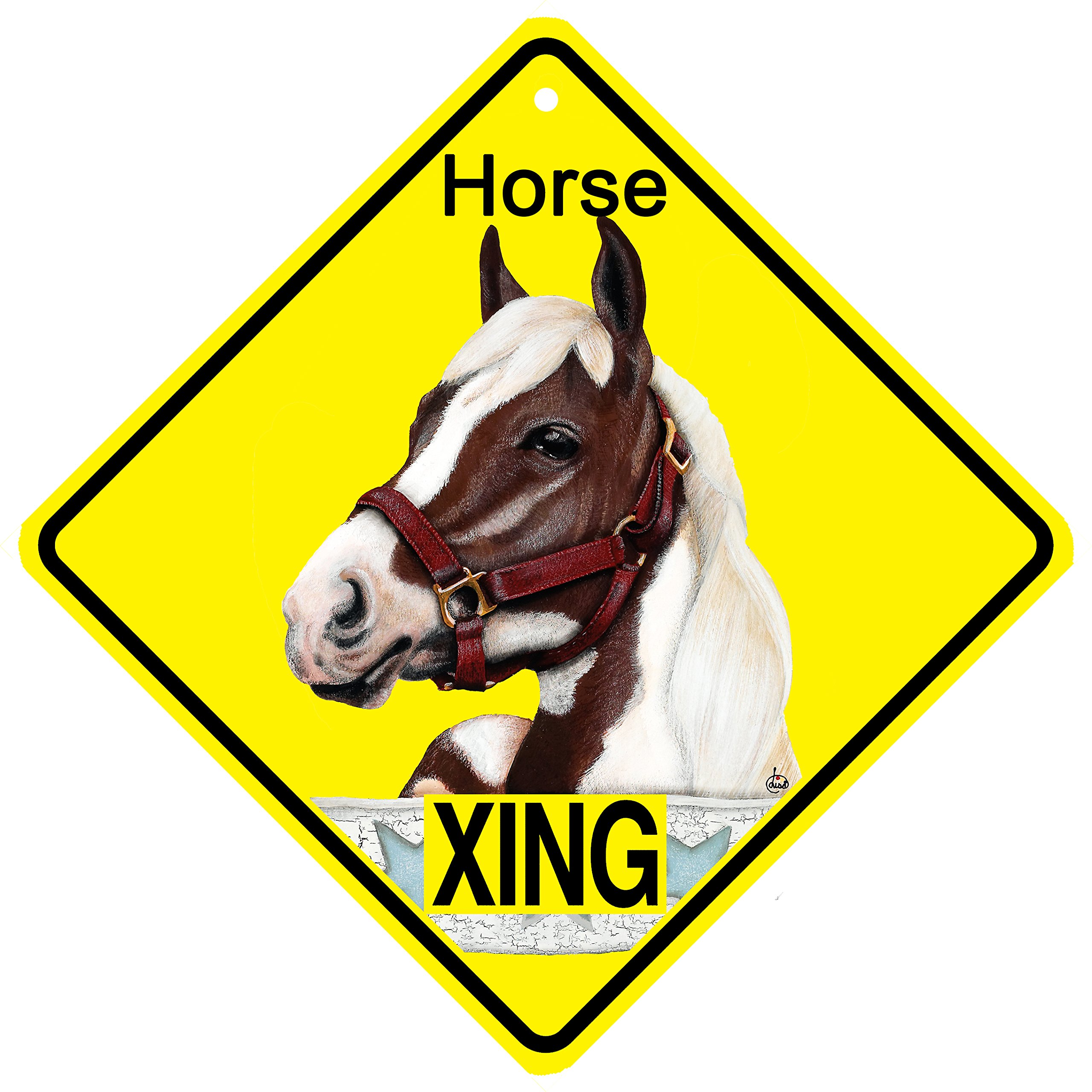 KC Creations Pinto Painted Horse metal Xing caution warning Crossing sign 11x11 inches diamond or 8x8 inches square square