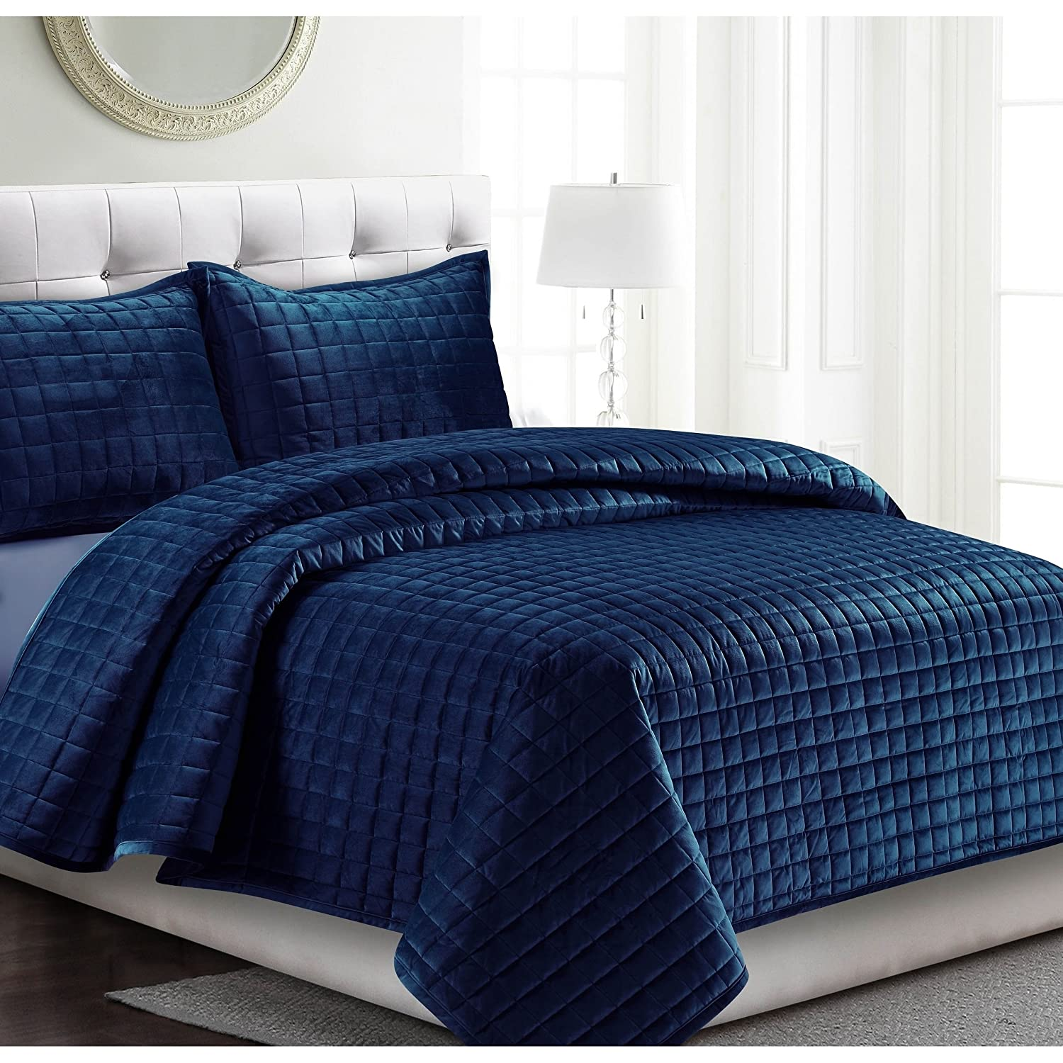 Osvt 3 Piece Navy Blue Chenille Quilt Set King Geometric Diamond