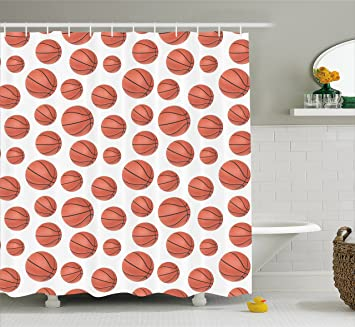 Basketball Shower Curtain By Ambesonne Realistic Style Balls Pattern On White Classical Sports Themed