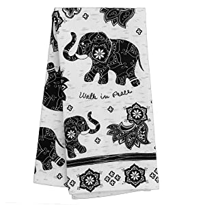 Karma Gifts Black and White Boho Tea Towel, Elephant