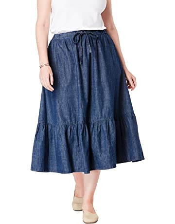 eb3265a40c Woman Within Women's Plus Size Drawstring Chambray Skirt