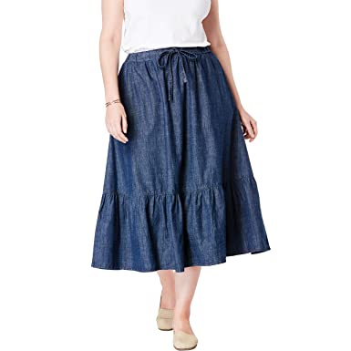 3abad47c1a Woman Within Women's Plus Size Drawstring Chambray Skirt at Amazon Women's  Clothing store: