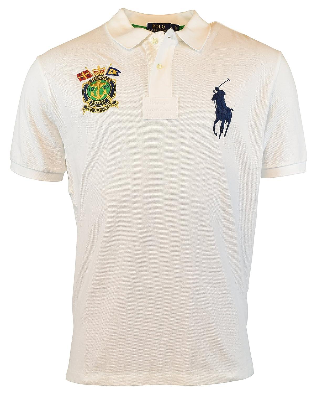 Polo Ralph Lauren Mens Classic Fit Nautical Crest Polo Shirt White