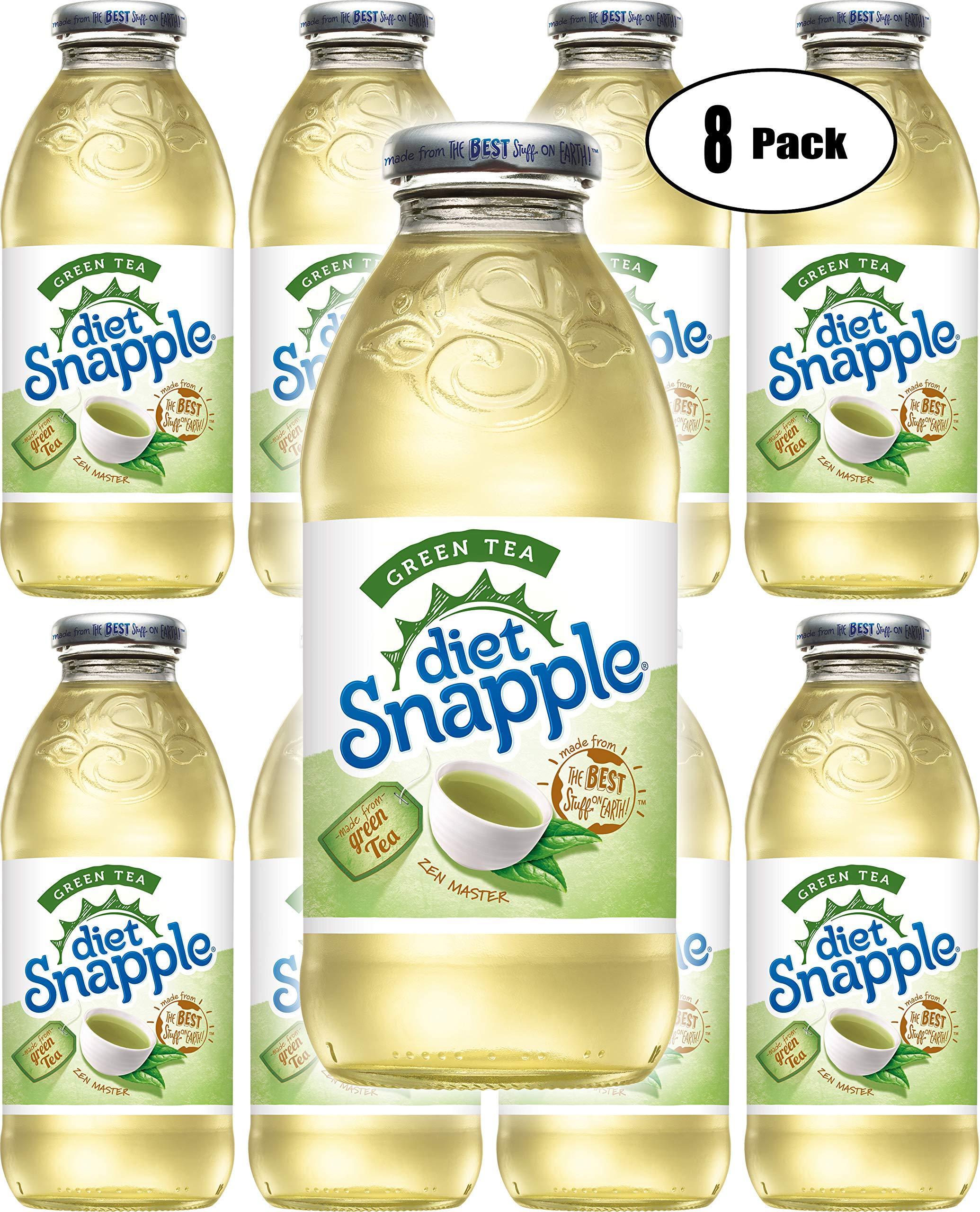 Diet Snapple Diet Green Tea, 16oz Glass Bottle (Pack of 8, Total of 128 Fl Oz)