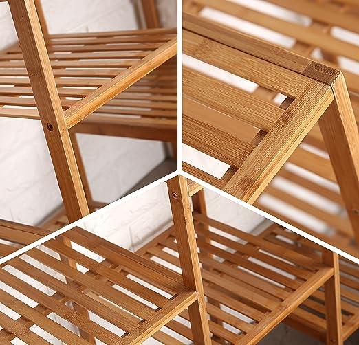 finnhomy Natural estante de bambú planta soporte pantalla utilidad personalizable de madera estante estantería de baño 9-tier multifuncional de almacenamiento Rack – Estantería: Amazon.es: Jardín