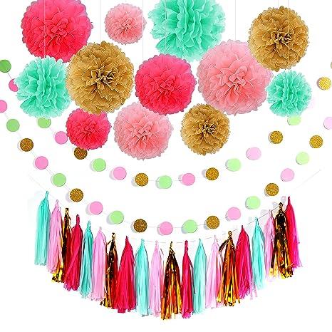 Decoración de cumpleaños, Guirnaldas de cumpleaños, 12 flores de papel de seda PomPoms y 20 guirnalda de borlas, guirnalda de papel de 2 puntos para ...