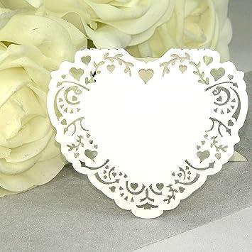 Einssein 10x Tischkarten Hochzeit Herz Vintage Weiss Tischkarten