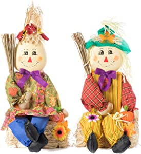 Gardenised QI003719 Set of 2 Garden Scarecrows Sitting on Hay Bale, Multicolor