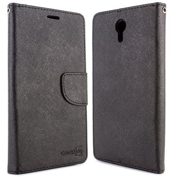 hot sale online b57e0 a0026 Lenovo ZUK Z1 Wallet Case, CoverON [CarryAll Series] Flip Folio Credit Card  Slot Pouch Cover Stand + Strap Case For Lenovo ZUK Z1 - Black