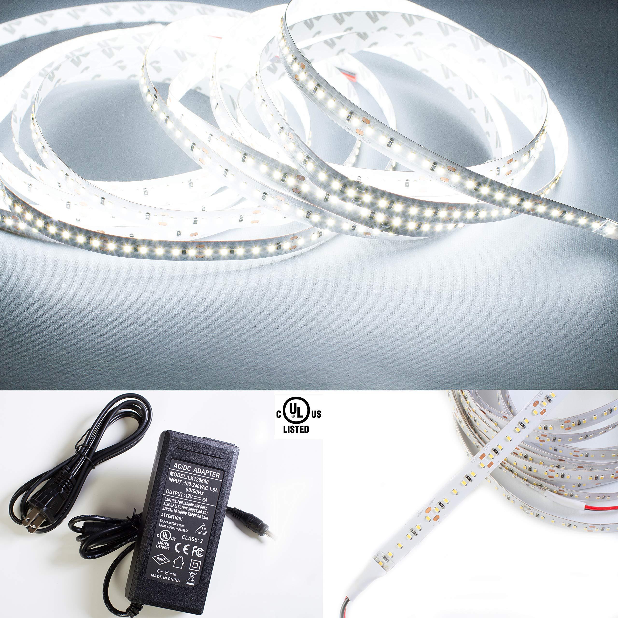 LEDUPDATES HIGH Brightness 2216 LED Strip Light CRI 90 White 6000K with UL Listed Power Supply