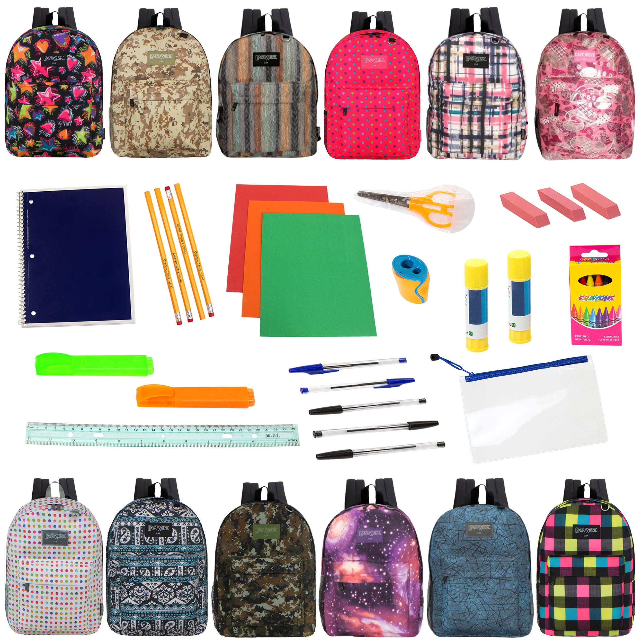 17'' Backpacks with 30 Piece School Supply Kit - Bulk Case of 12 Wholesale Backpacks and Kits in 8 to 12 Prints by Moda West