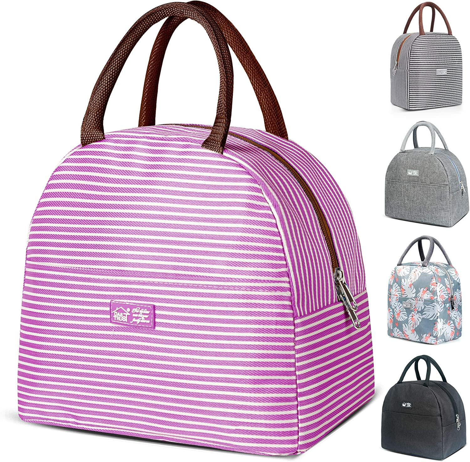Reusable Insulated Lunch Bags for Women Men Meal Prep Container Leakproof Freezable Cooler Bag Durable Tote Bag Fashionable Lunchbox Container for Work School Picnic Purple Strip