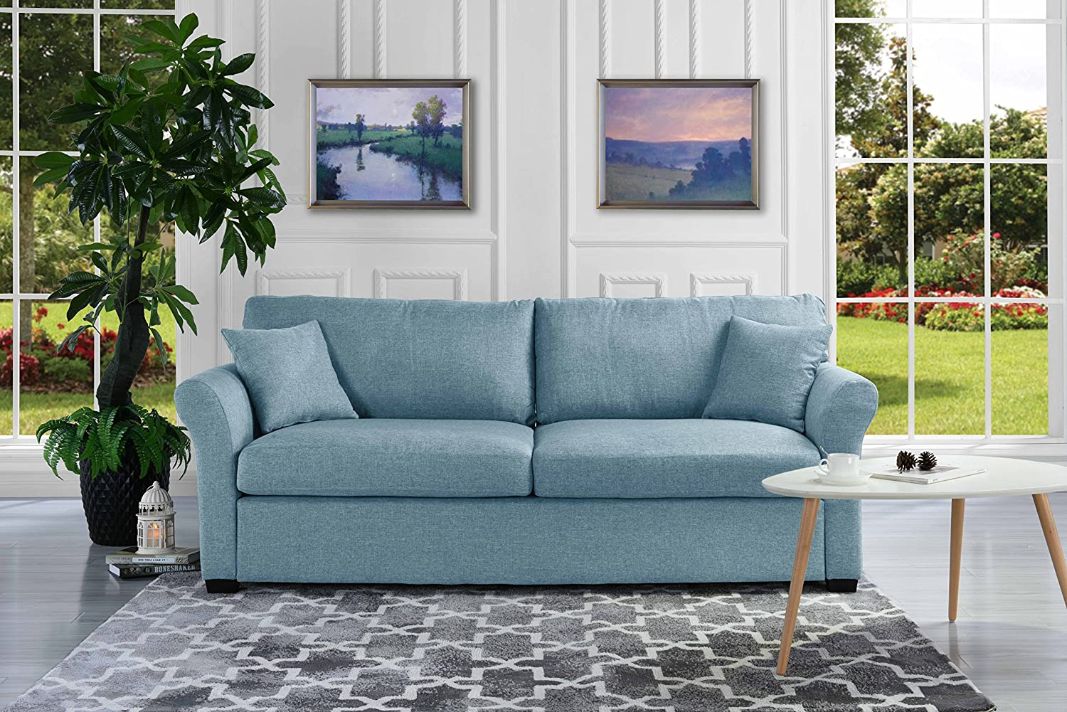 . Classic and Traditional Ultra Comfortable Linen Fabric Sofa   Living Room  Fabric Couch  Sky Blue