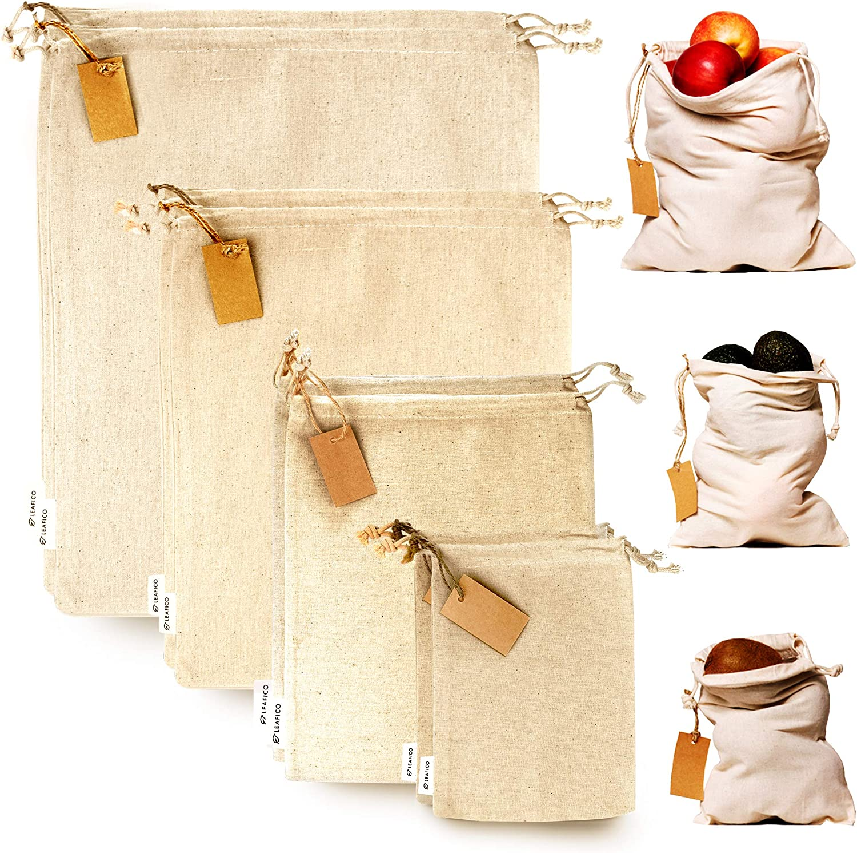 bulk bags reusable bags drawstring pouch grain bags cotton muslin bags farmers market bags Set of 3 reusable produce bags handmade