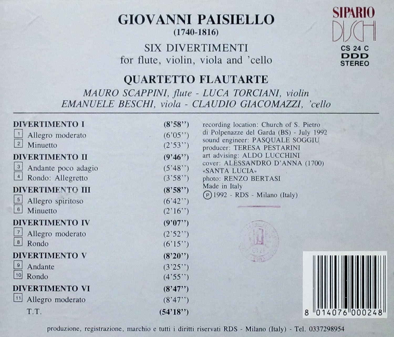 Sei Divertimenti - Quartetto Flautarte, Giovanni Paisiello: Amazon ...