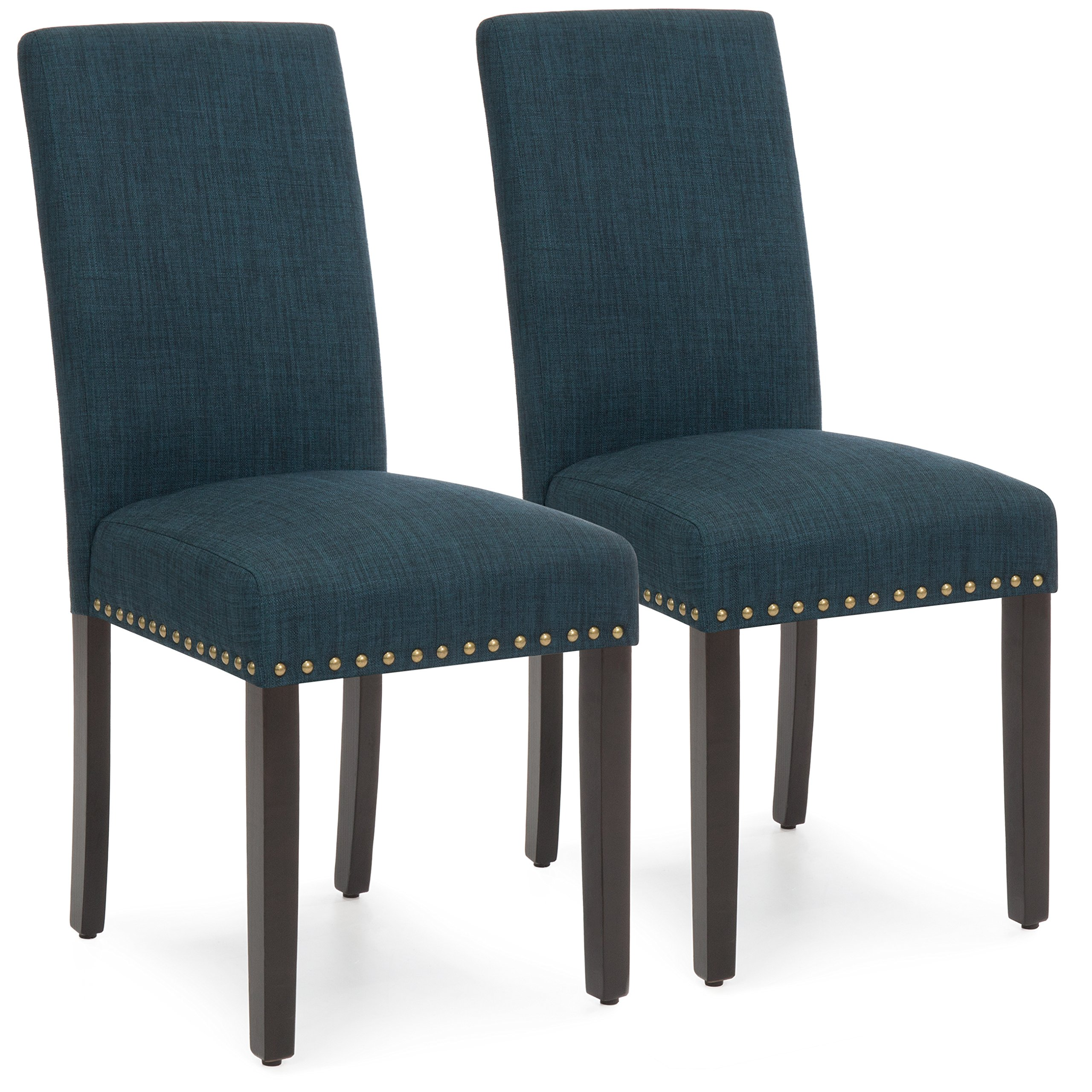 Best Choice Products Set of 2 Modern Contemporary Nail Head Upholstered Fabric Parsons Dining Chairs (Graphite Blue)