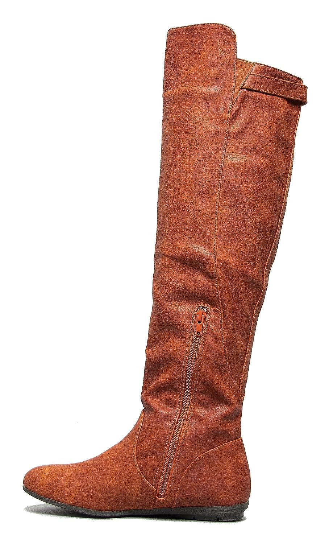 Delura MYSTERE Sleek Over the Knee Classic Flat Riding Boot Cognac PU