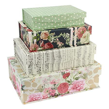 Tri Coastal Design Pretty Papers Set 4 Keepsake Boxes With Tab Opening