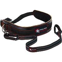 Dark Iron Fitness - Cinturón de cuero para levantamiento de pesas y acondicionamiento físico, con correa