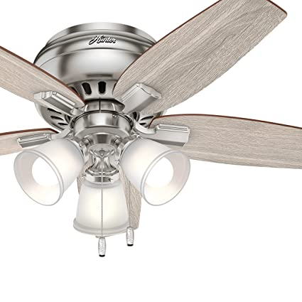 Hunter 42 In Low Profile Ceiling Fan With Led Light In Brushed