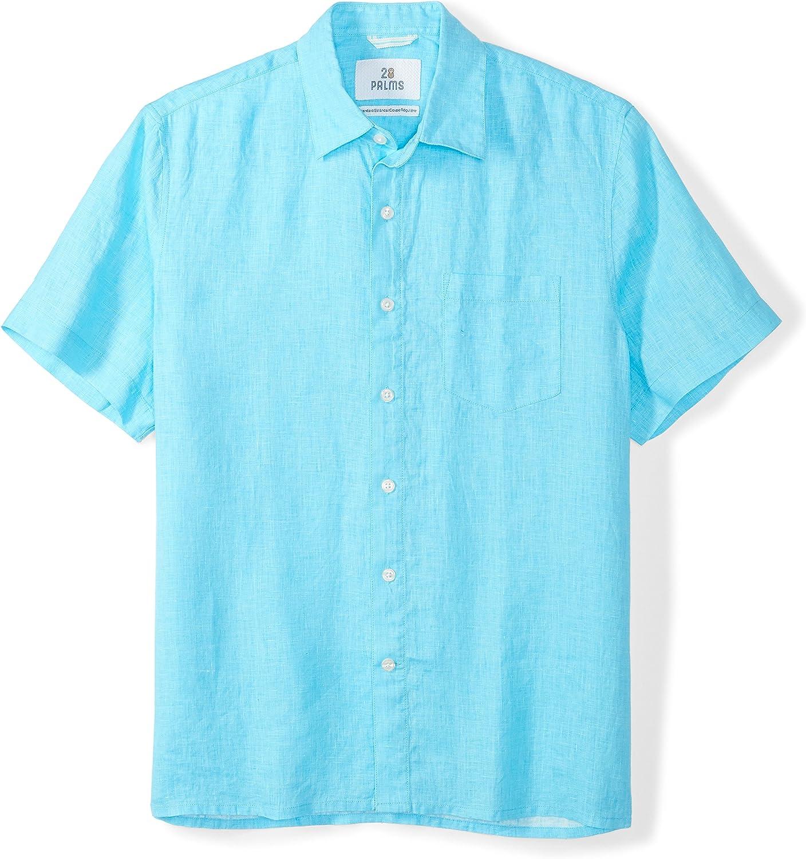 28 Palms  Brand Mens Standard-Fit Short-Sleeve 100/% Linen Shirt