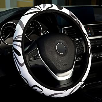 Anti-Slip Labbyway Car Steering Wheel Cover Elastic Flax Cloth Ethnic Style Sweat-Absorbent Universal 15 Inch