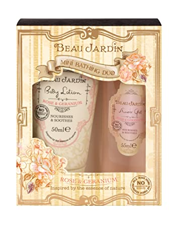 Amazon.com : Beau Jardin Rose and Geranium Mini Bathing Duo : Beauty