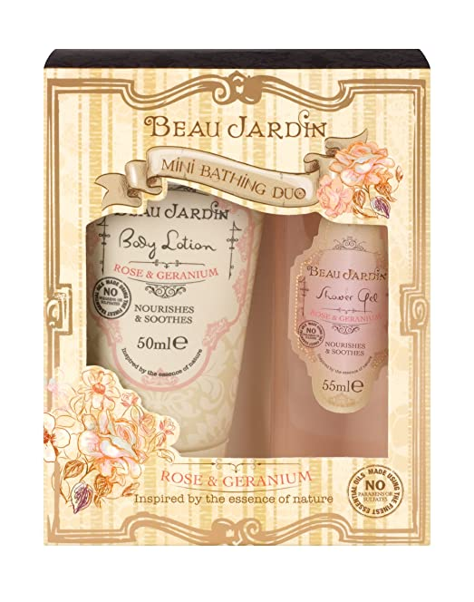 Beau Jardin Rose and Geranium Mini Bathing Duo: Amazon.co.uk: Beauty