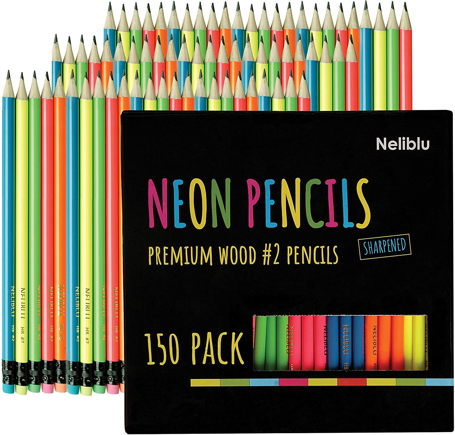 Premium Quality Pencils In Bulk 150 Neon #2 Sharpened Wood Pencils for Kids and Adults