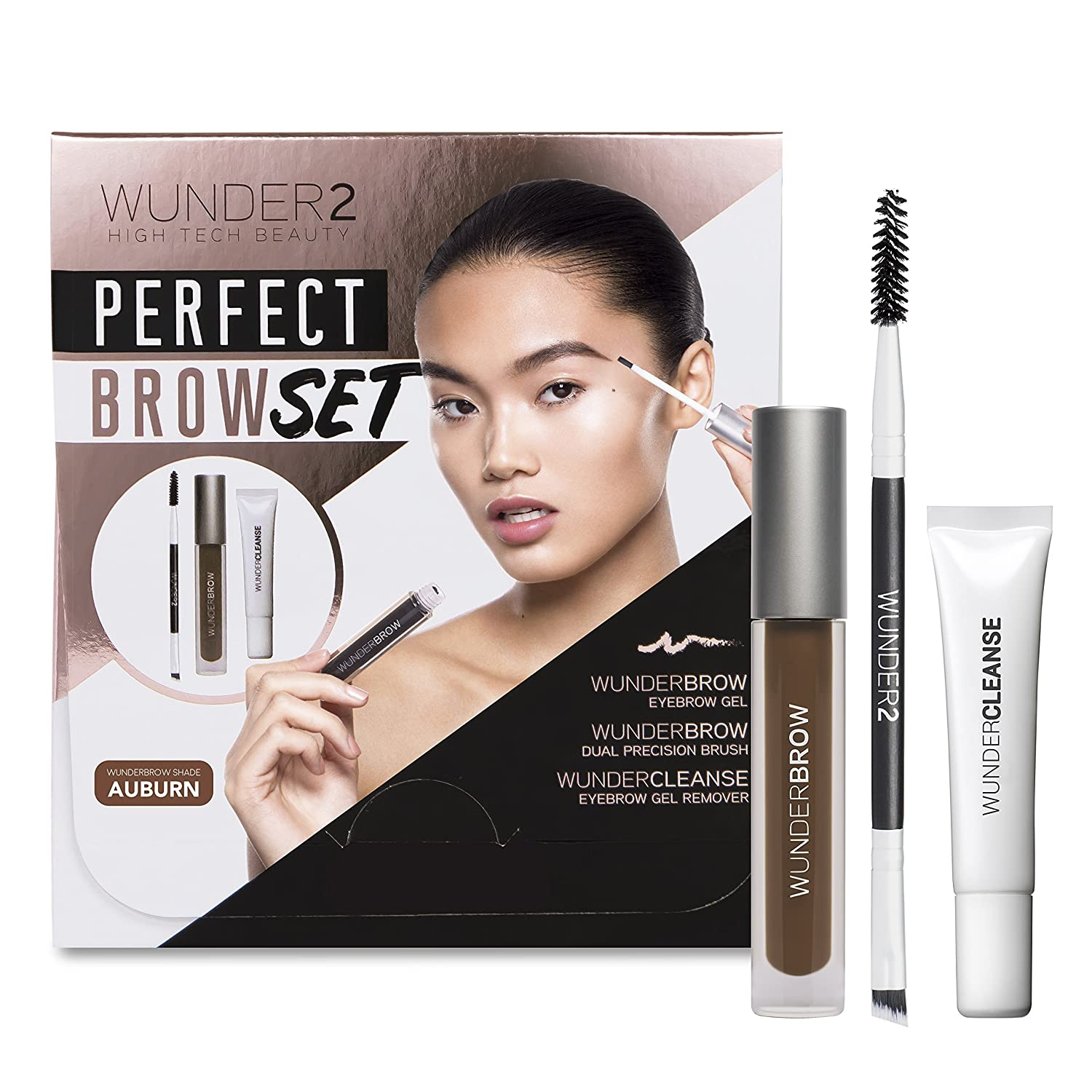 WUNDER2 WUNDER2 Perfect Brow set- Wunderbrow impermeabile, gel per sopracciglia Wundercleanse struccante & Dual Precision Brow Brush – Auburn Colour x KF Beauty BROW_SET_AU