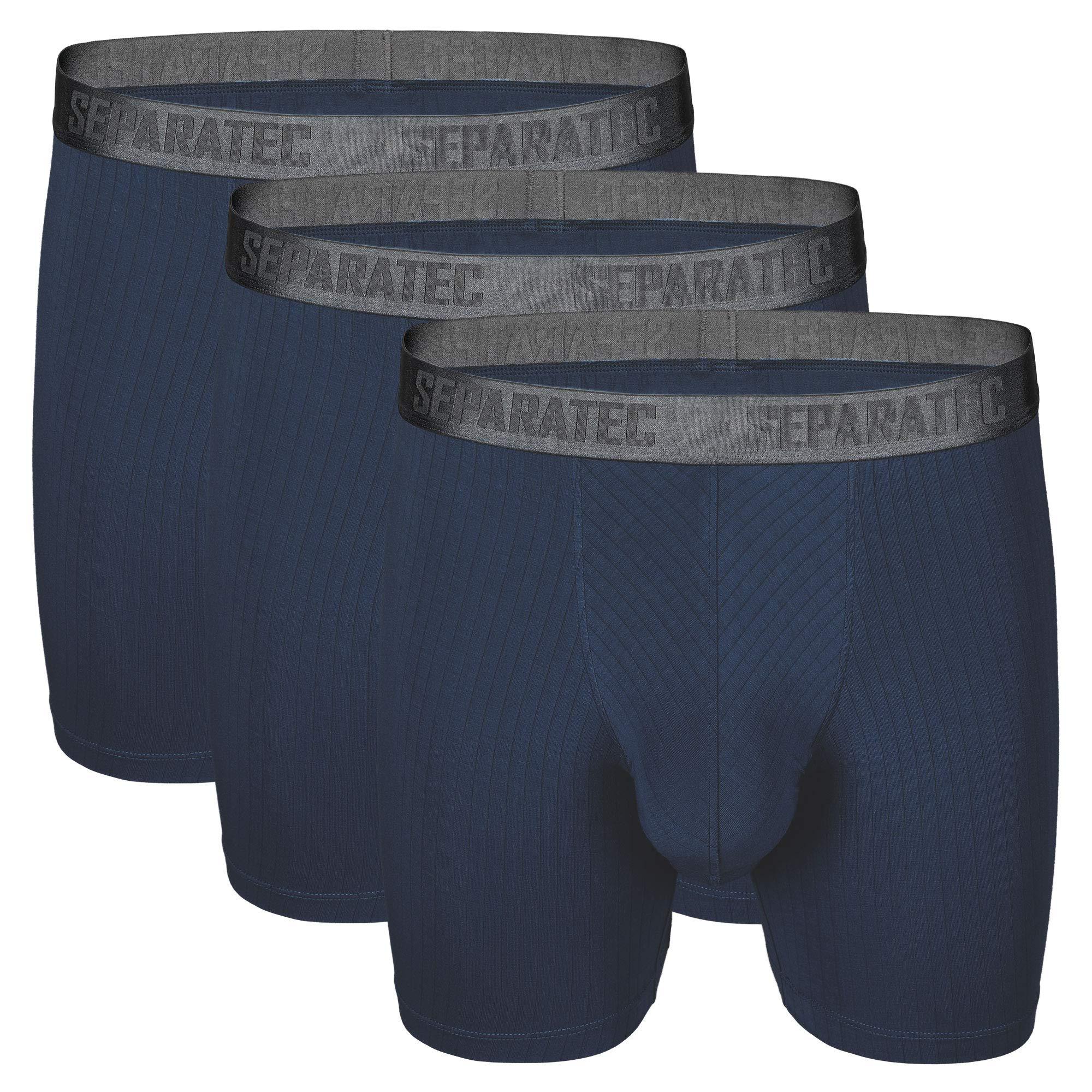 Separatec Men's 3 Pack Soft Modal Stylish Drop Needle Striped Boxer Briefs Underwear(L,Navy Blue) by Separatec (Image #1)
