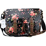 Exotic Glitter Oil Cloth Flower print saddle bag with two Front Pockets Black