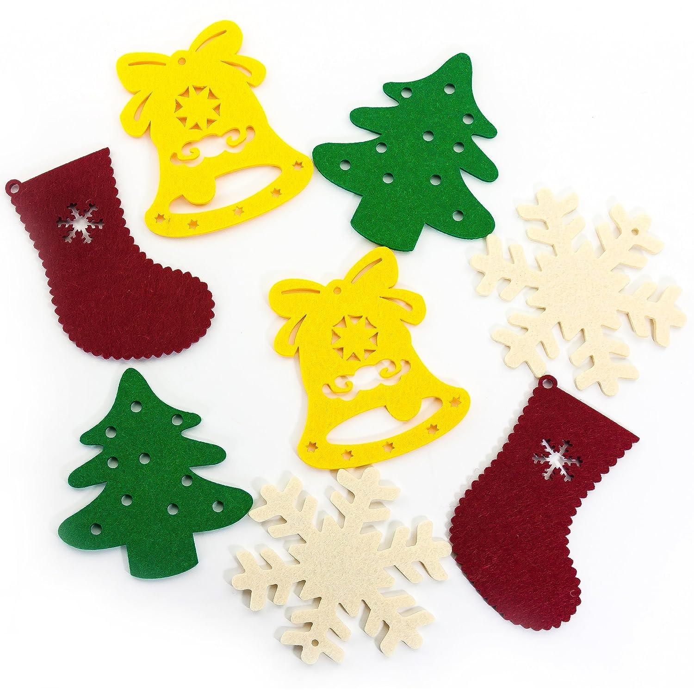 Oblique Unique/® 8 Klassische Weihnachtsfiguren Anh/änger aus Filz zur Dekoration f/ür Christbaum Fenster Geschenkbeutel u.v.m.