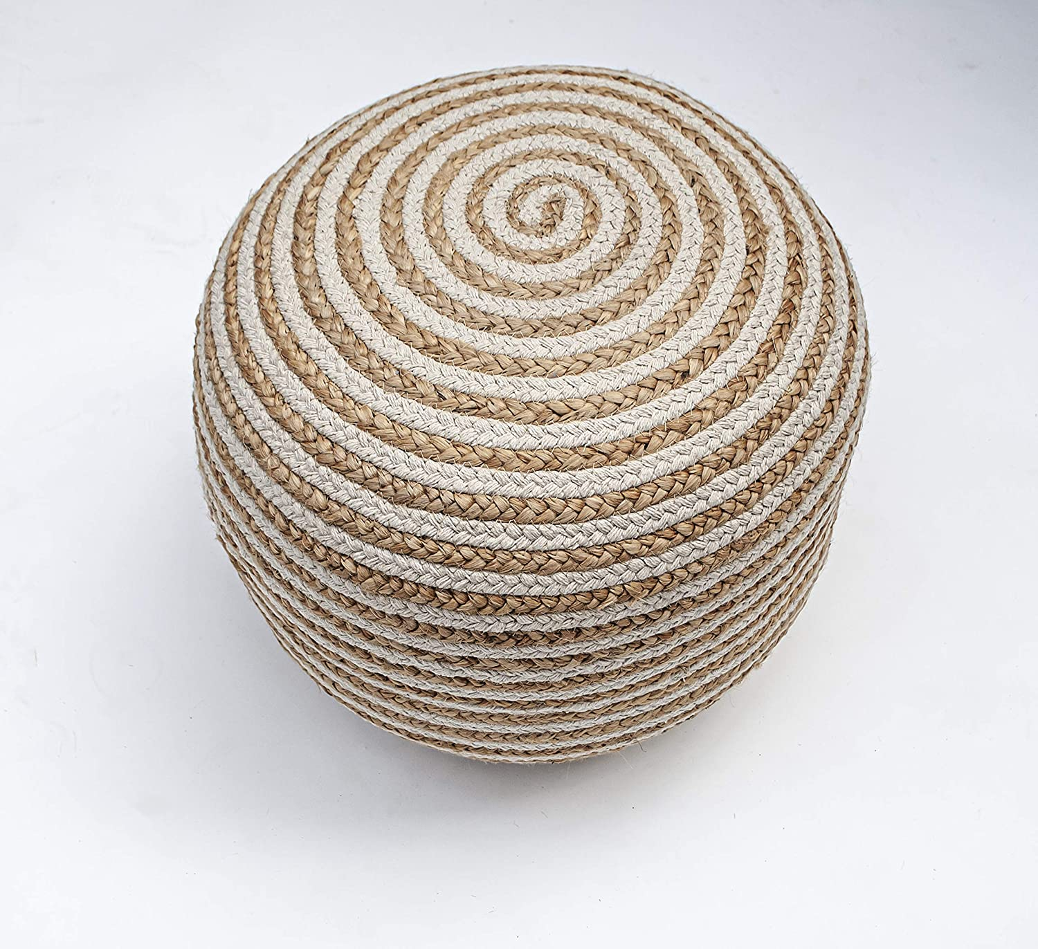 Chardin Home- Natural Braided Ottoman Pouf - Cozy & Bohemian Jute/Hemp Hand Crafted Casual Seating for Home, Office, Bedroom, 18