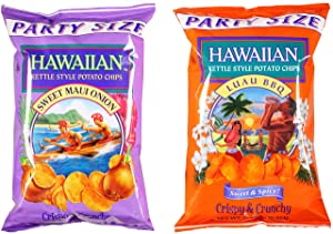 Hawaiian Kettle Chips Variety Bundle: (1) Sweet Maui Onion Kettle Style Potato Chips 16oz, (1) Luau BBQ Kettle Style Potato Chips 16oz (2 Pack Total)