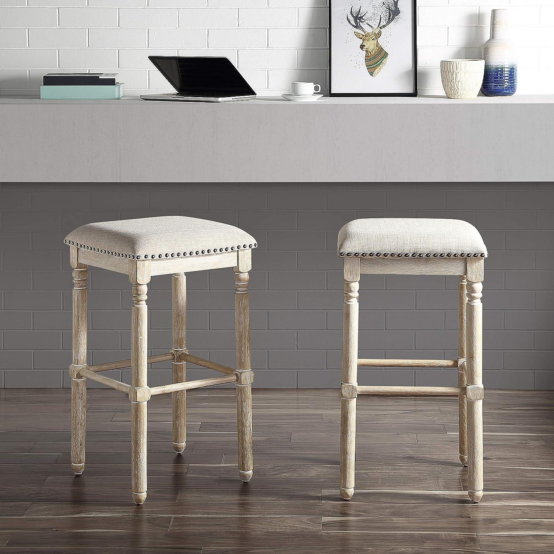 Roundhill Furniture Arnhem Wood Upholstered Swivel Bar Stools, Set of 2, Tan