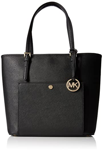 47b7168e6986 MICHAEL Michael Kors Jet Set Large Top Zip Snap Pocket Tote Black ...