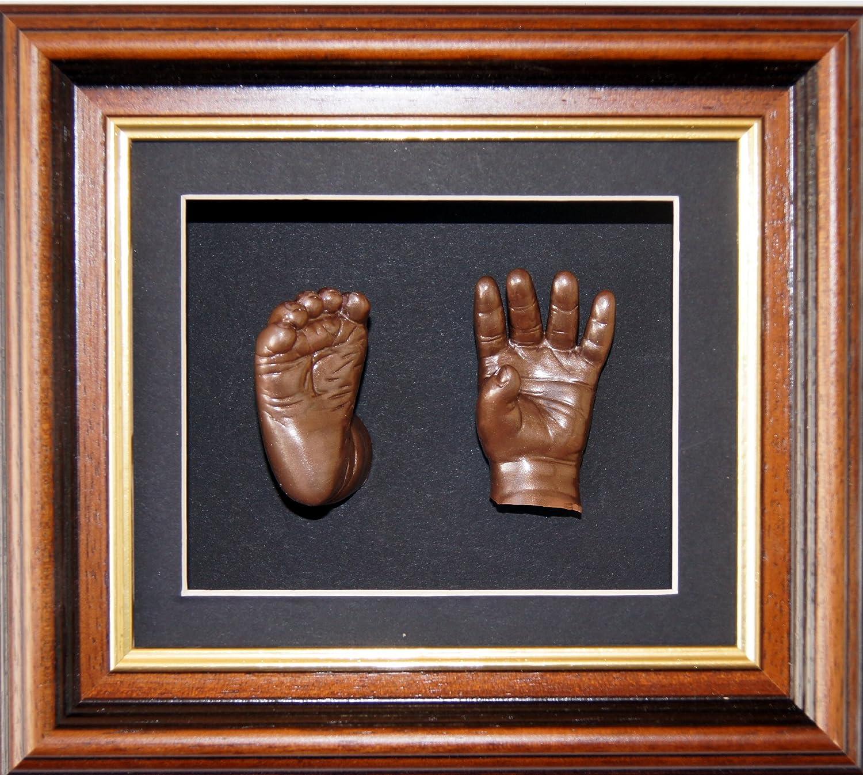 Anika-Baby Kit de moulage pour bébé Cadre boîte 3D Acajou-doré Passe-partout noir-peinture bronze métallique 15 -2 x