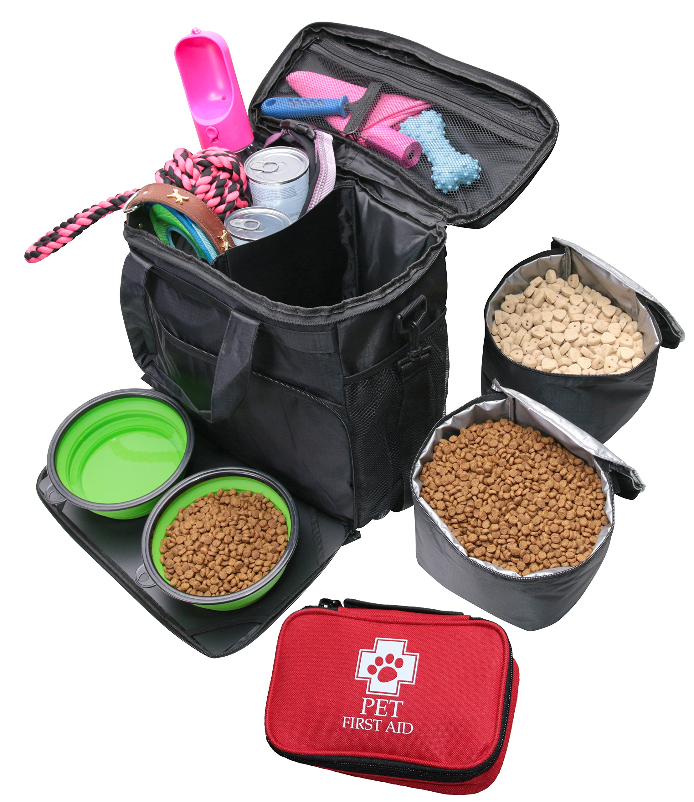 Labra Pet Dog Pet Travel Bag Carry On Luggage - Includes Bag, Pet First Aid Kit, Lined Food Containers, Collapsible Bowls and Placemat