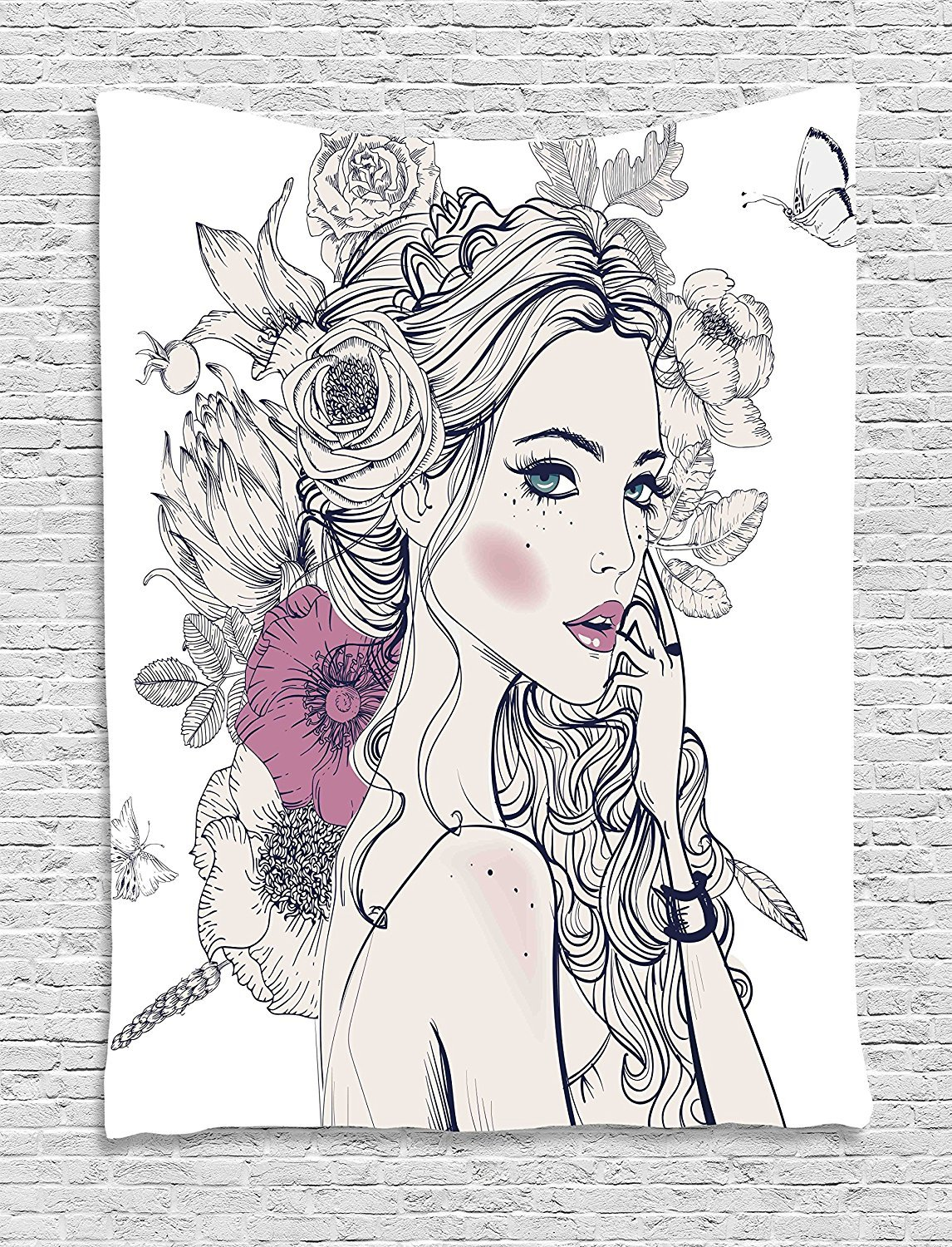 Floral Tapestry, Portrait of a Beautiful Woman with Flowers on Her Hair and Butterflies Pattern, Wall Hanging for Bedroom Living Room Dorm, 40 W x 60 L Inches, Pearl and White