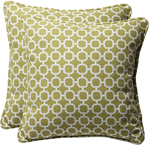 Pillow Perfect Outdoor Indoor Hockley Pear Throw Pillows, 18.5 x 18.5 , Green, 2 Pack