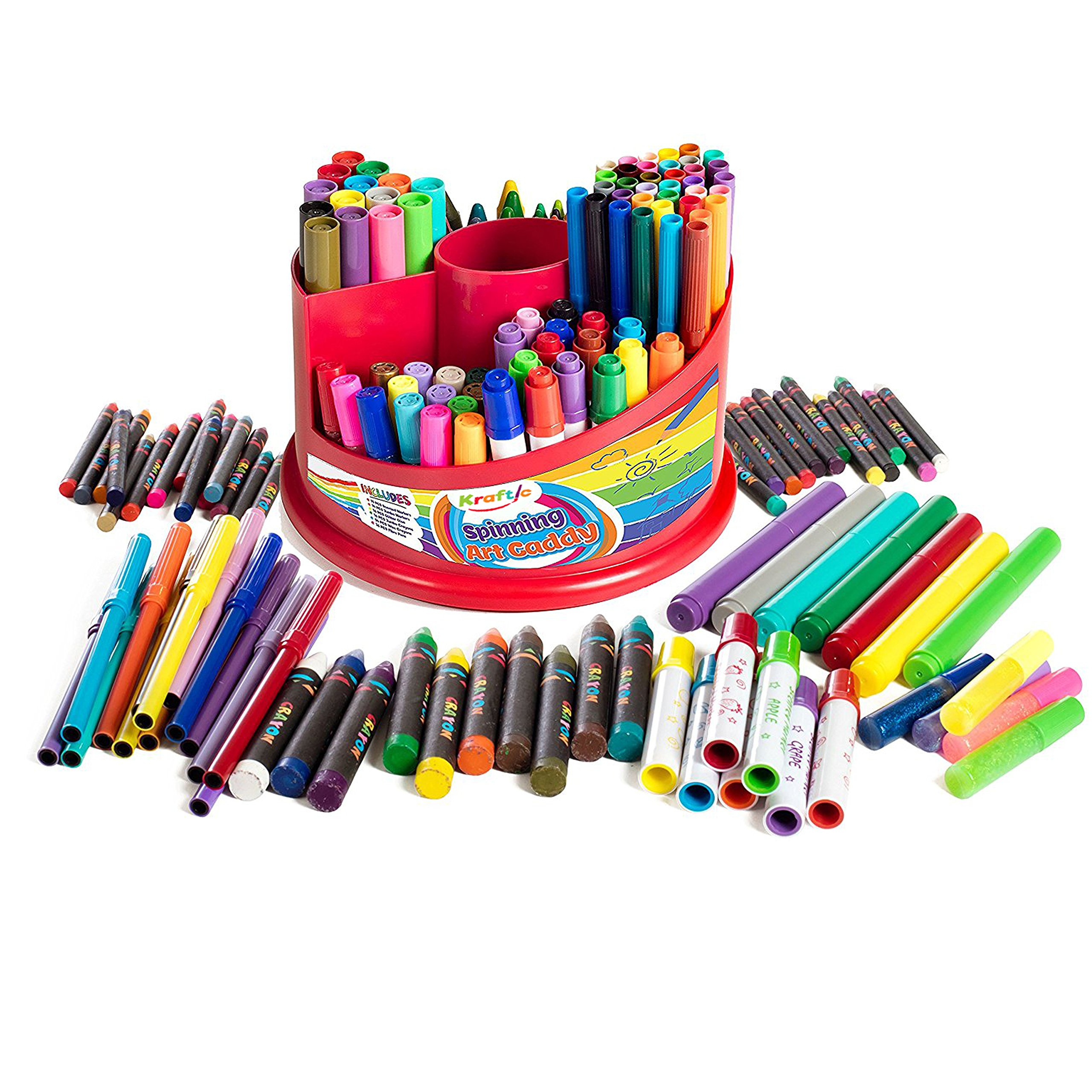 All In 1 Spinning Art Caddy with Set of Crayons, WASHABLE Markers, Scented Markers and Glitter Glue, 151 Piece Set by Kraftic (Image #1)