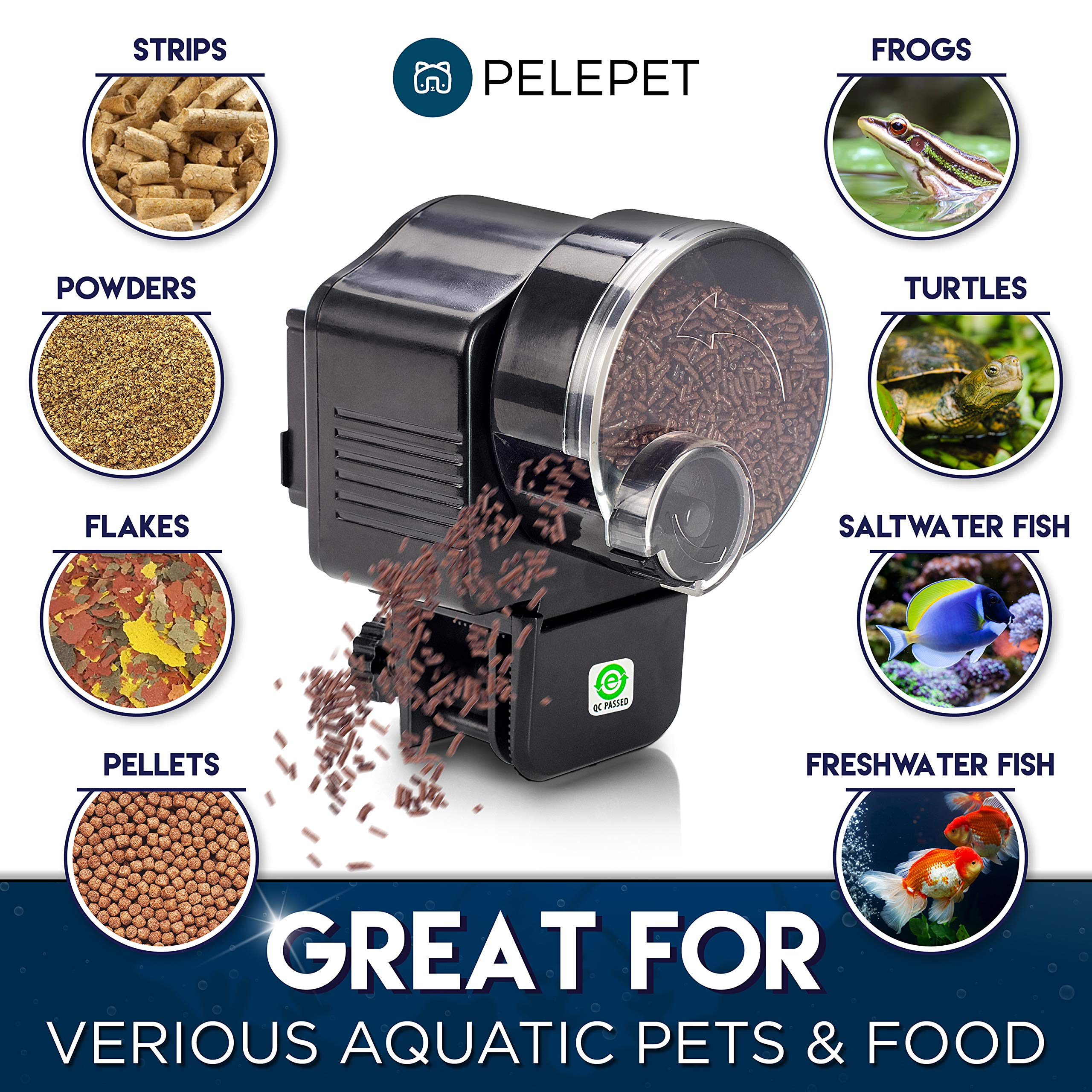 PELEPET Automatic Fish Feeder - Aquarium Feeder - Fish Food Vacation Feeder - Auto Feeding Unit + Net for Fish Tank, Thermostat & Jelly Fish - Everyday Fish Food Dispenser by PELEPET (Image #7)