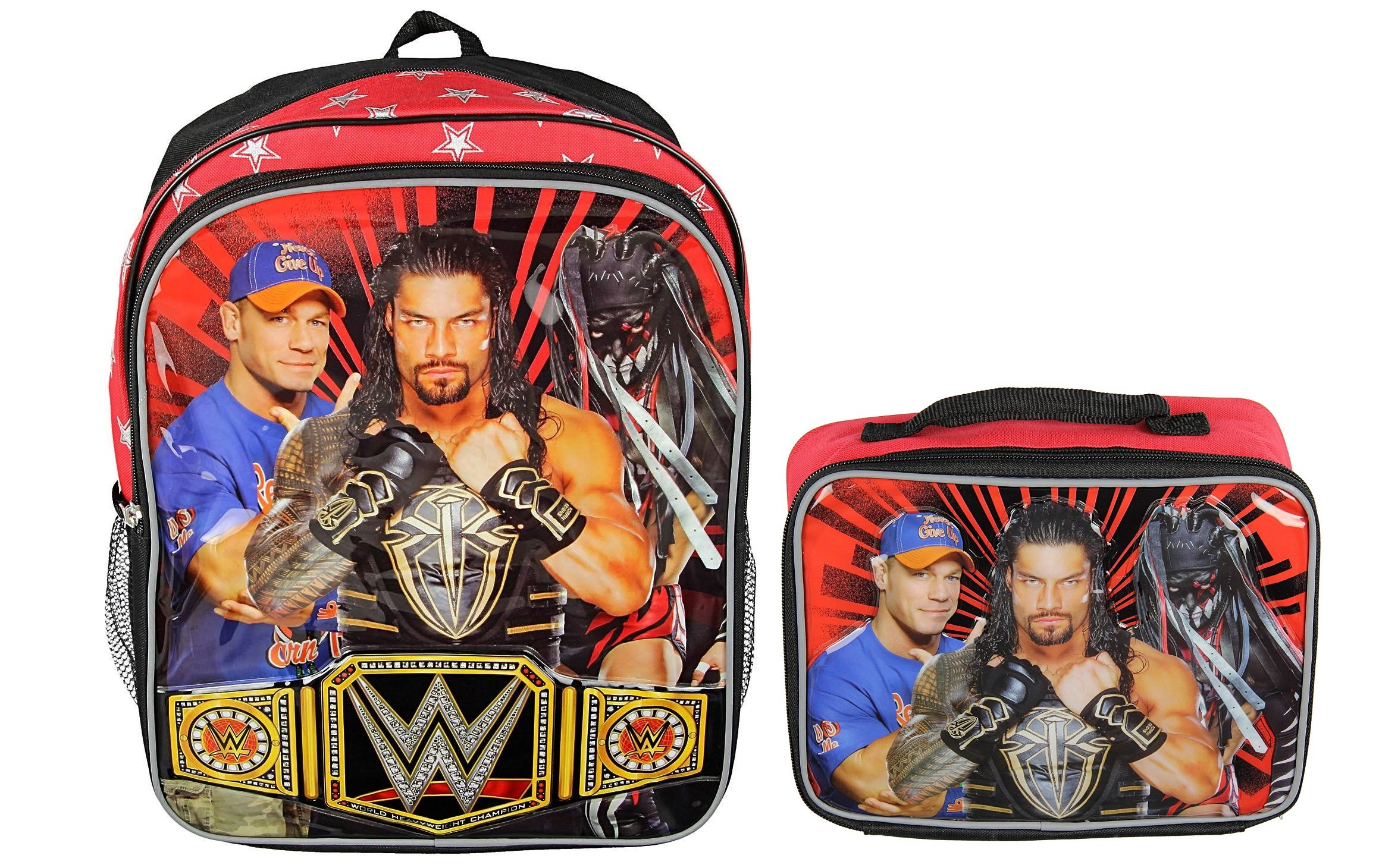 WWE Wrestling Boys School Backpack Book Bag Lunch Box Combo Set by Wrestling