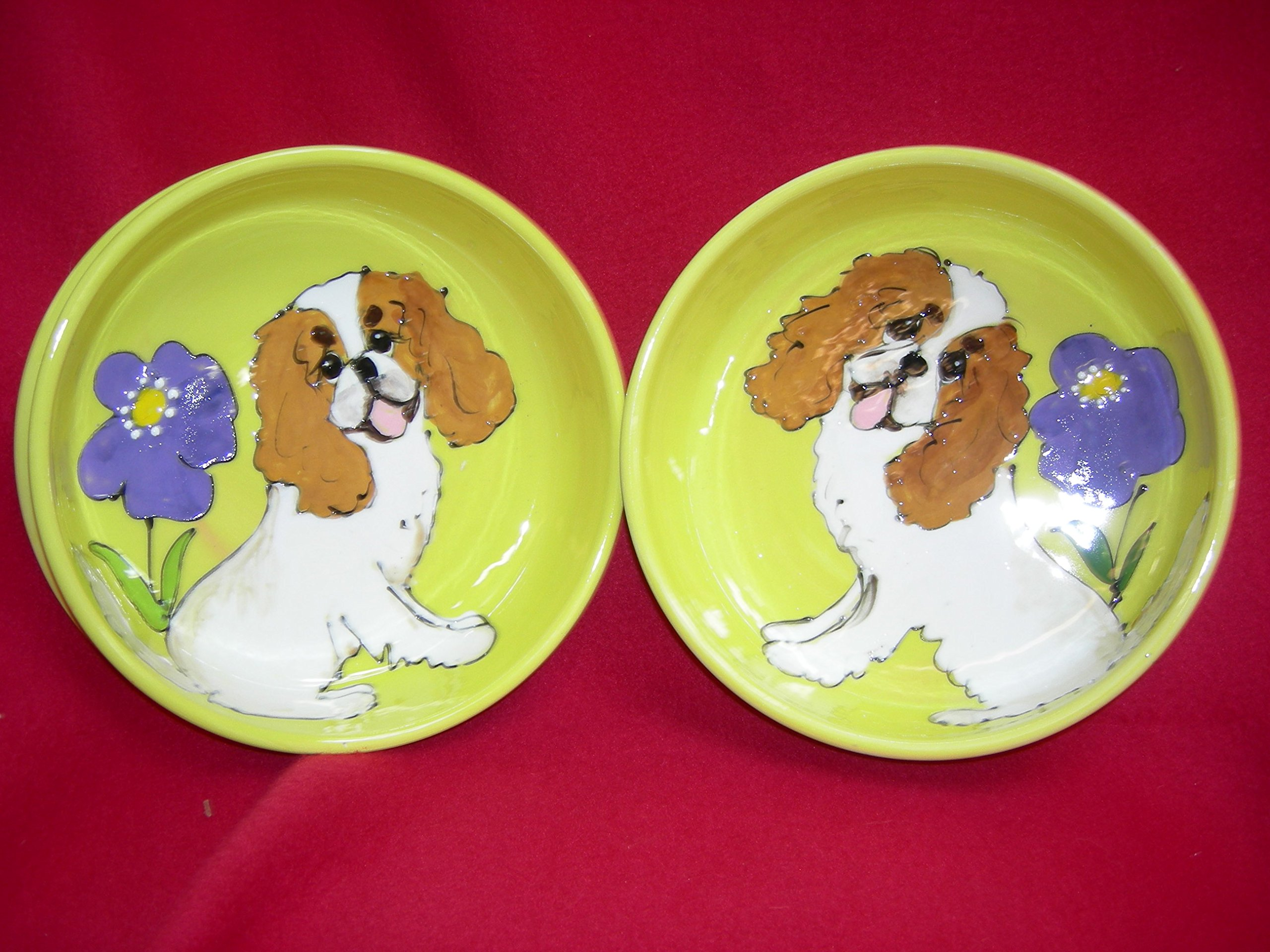 King Charles Cavalier 8''/6'' Pet Bowls for Food/Water. Personalized at no Charge. Signed by Artist, Debby Carman.