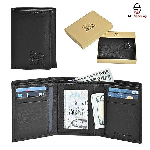 amazon com estalon leather trifold wallets for men with rfid