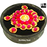 Bombay Haat Stone Handcrafted Floating Tealight Candle Holder with 5 Flowers for Home Decor, 13x4x13cm(Orange and Golden)