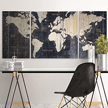 Amazon masterpieces old world map blue by avery tillmon masterpieces old world map blue by avery tillmon graphic art on wrapped canvas set 3 gumiabroncs Image collections