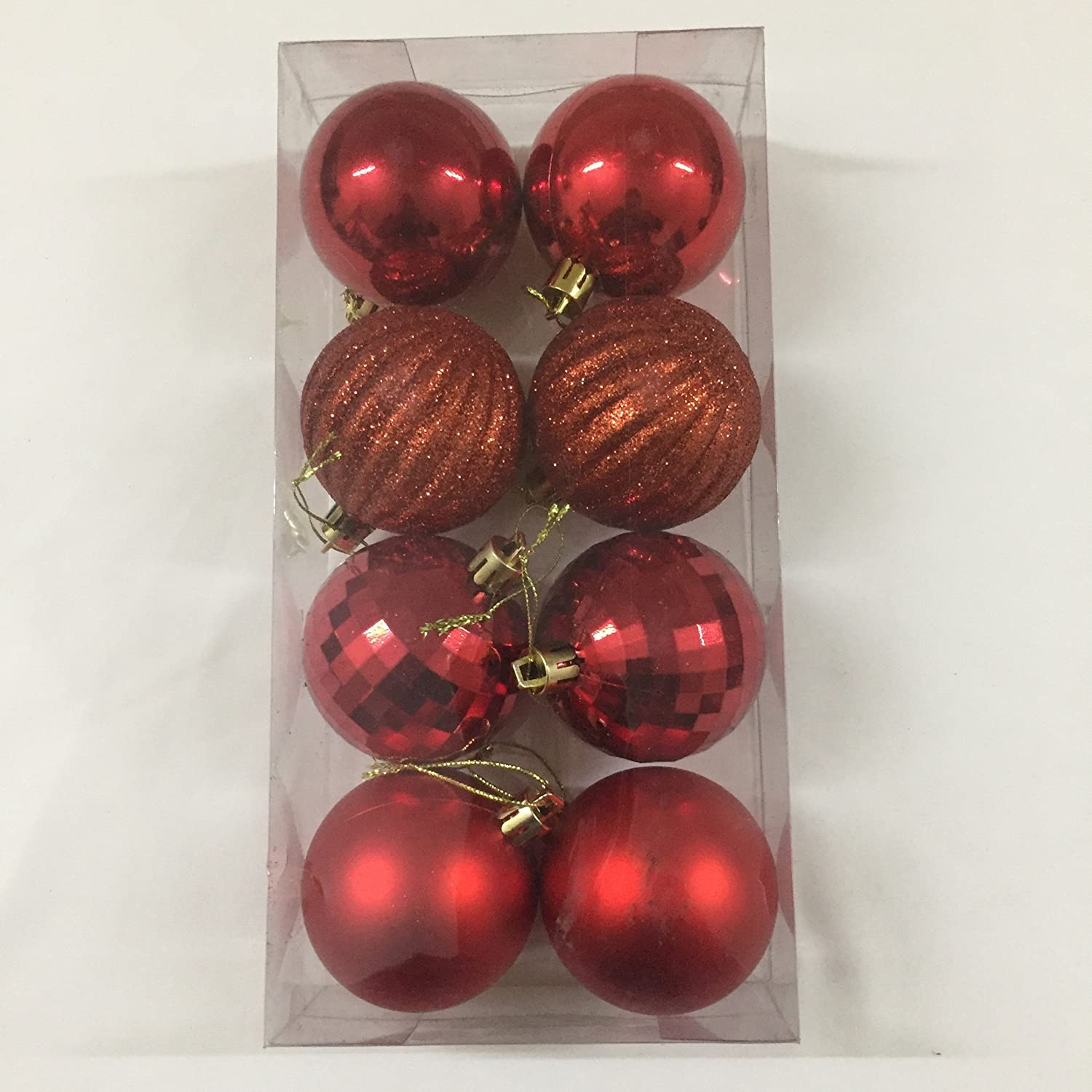 Buy 8 Pcs Medium Round Christmas Tree Balls Baubles Hanging Christmas Tree Decorations Red Silver Online At Low Prices In India Amazon In