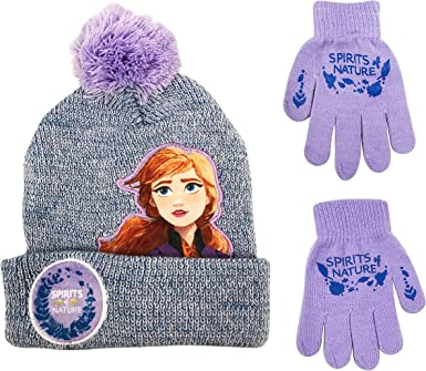 Disney Princess Girls Beanie Winter Hat and Gloves Cold Weather Set